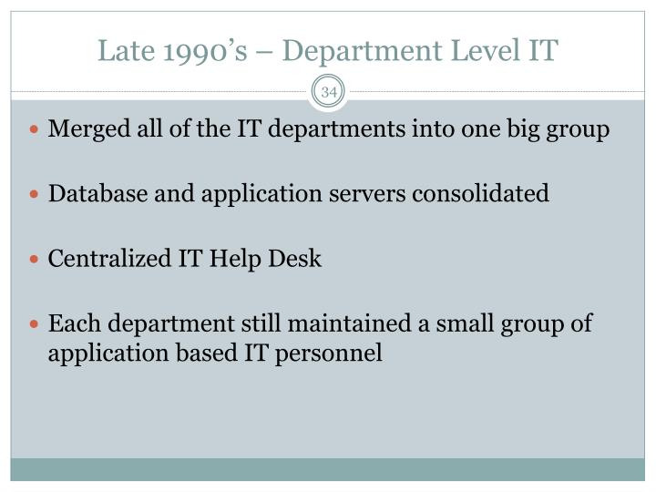 Late 1990's – Department Level IT