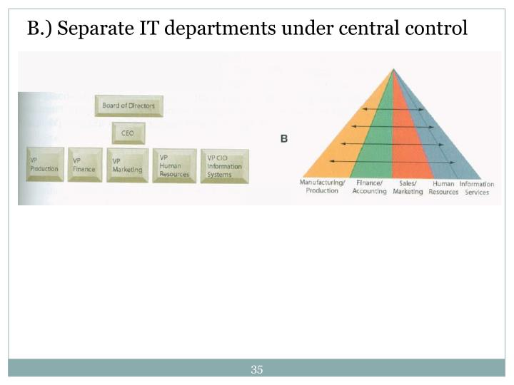 B.) Separate IT departments under central control