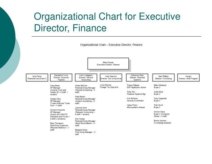 Organizational Chart for Executive Director, Finance