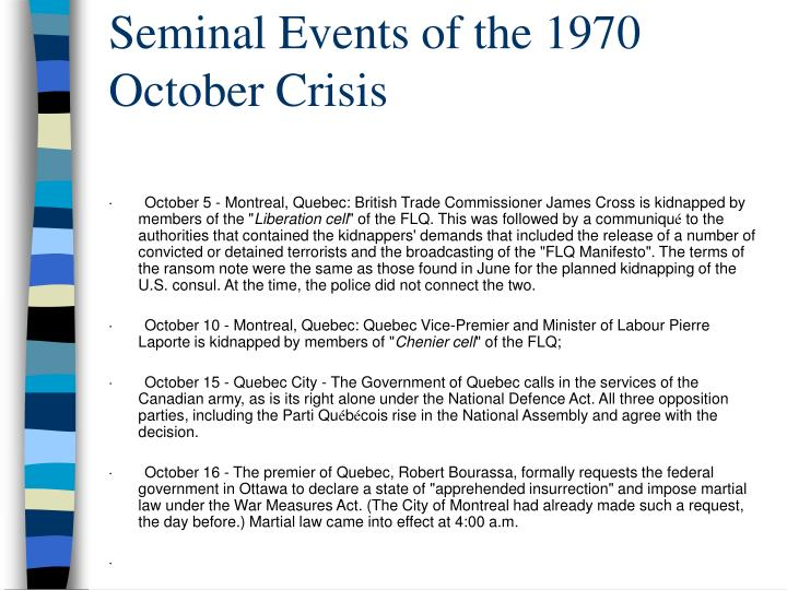 Seminal Events of the 1970 October Crisis