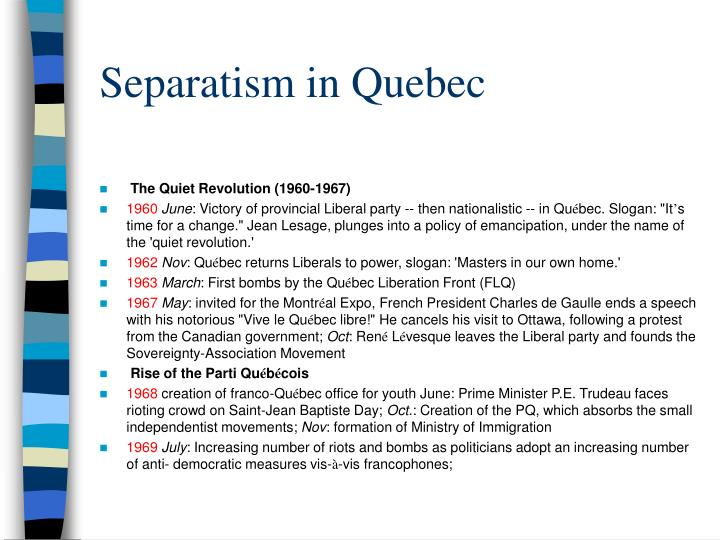 Separatism in quebec