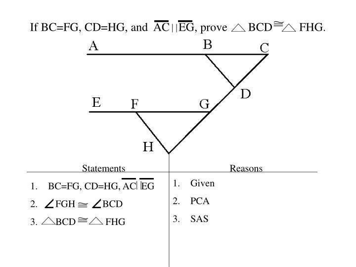 If BC=FG, CD=HG, and  AC   EG, prove       BCD         FHG.