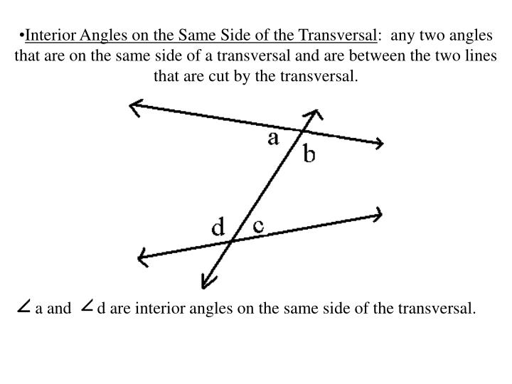 Interior Angles on the Same Side of the Transversal