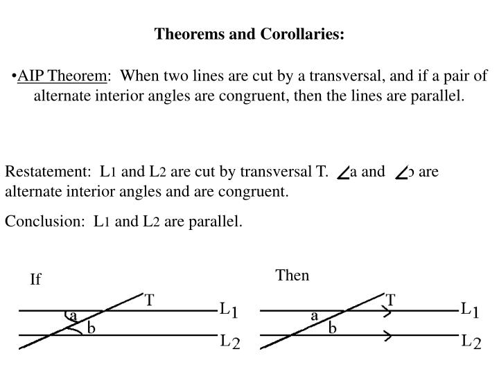 Theorems and Corollaries: