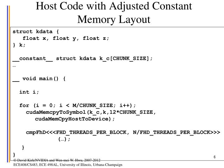 Host Code with Adjusted Constant Memory Layout