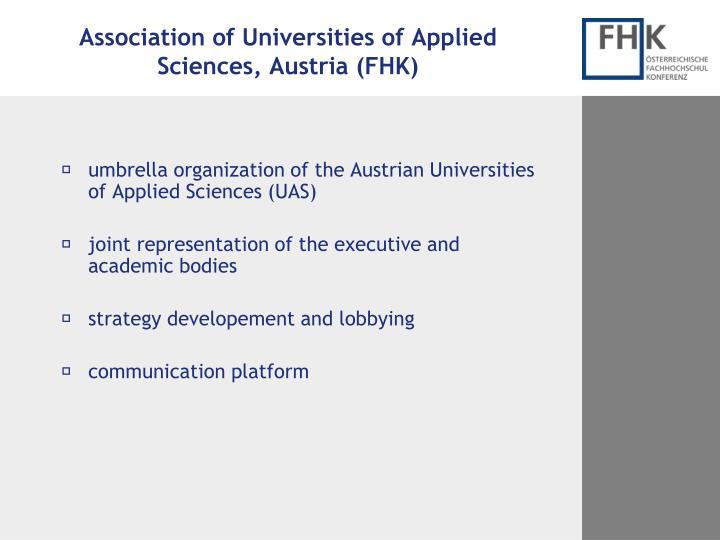 Association of Universities of Applied Sciences, Austria (FHK)