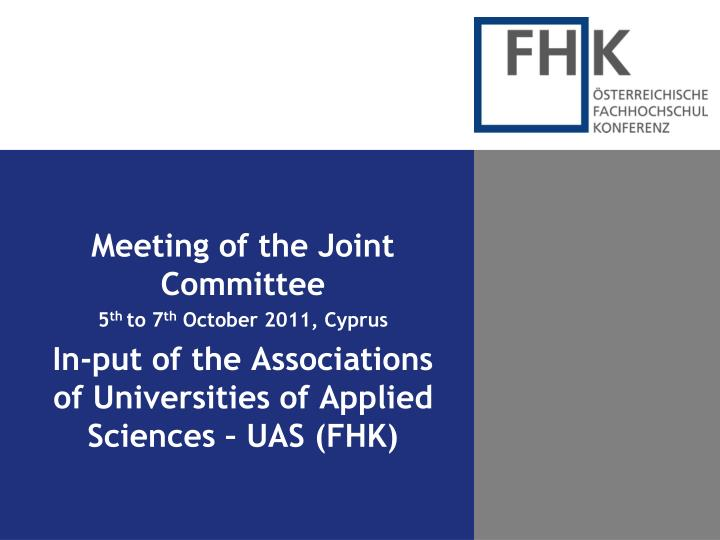 Meeting of the Joint Committee