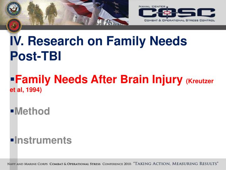 IV. Research on Family Needs Post-TBI