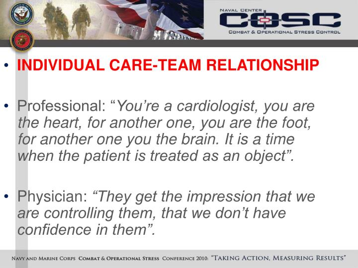INDIVIDUAL CARE-TEAM RELATIONSHIP