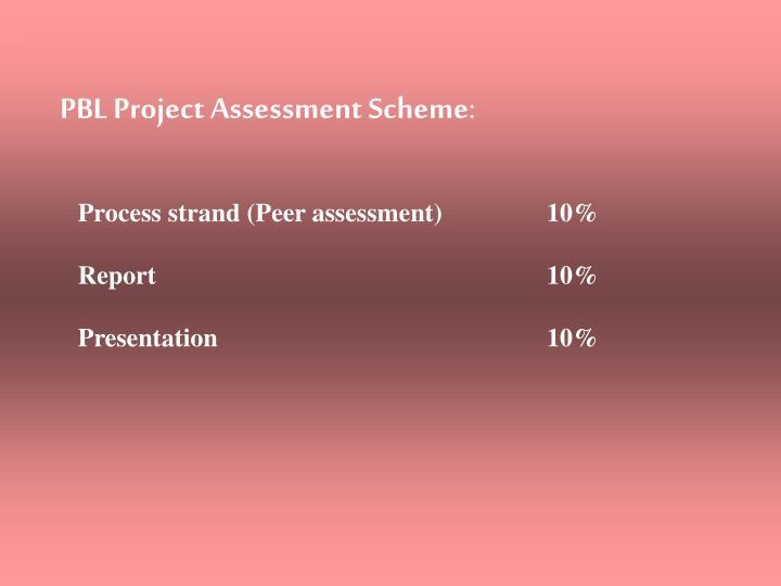 PBL Project Assessment Scheme