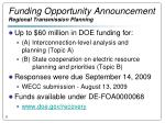 funding opportunity announcement regional transmission planning