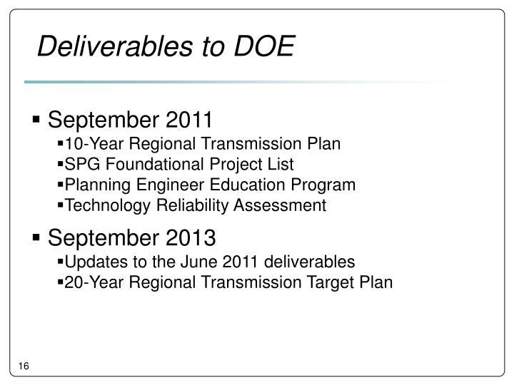 Deliverables to DOE