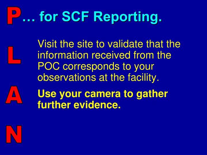 … for SCF Reporting.