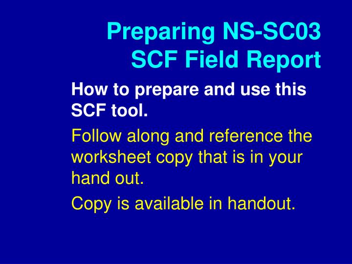 Preparing NS-SC03