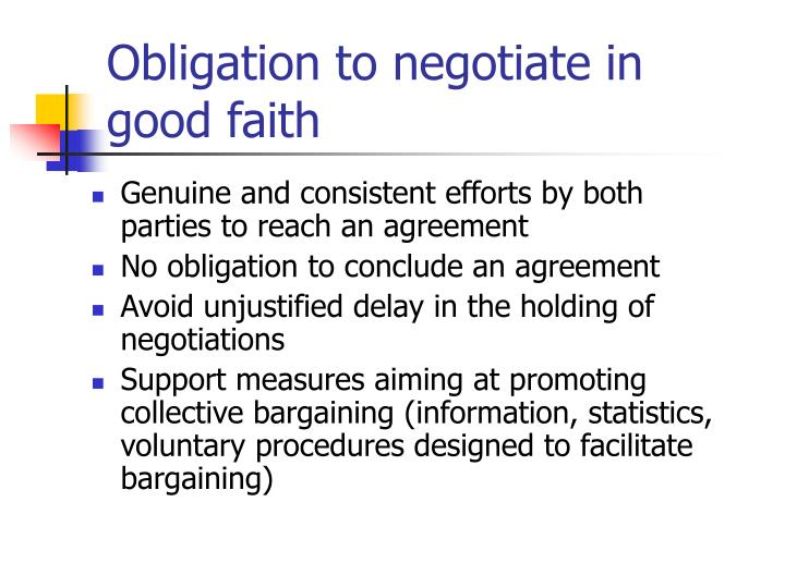 Obligation to negotiate in good faith