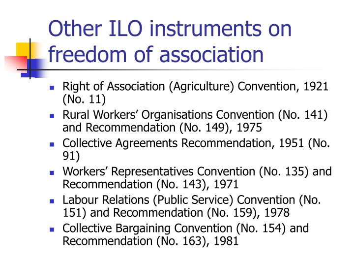 Other ILO instruments on freedom of association