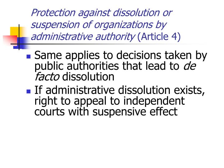 Protection against dissolution or suspension of organizations by administrative authority