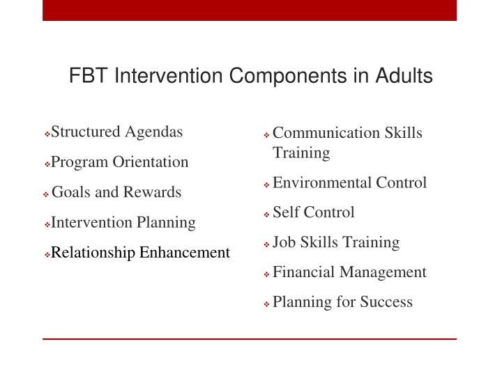 FBT Intervention Components in Adults