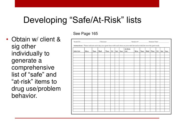 "Developing ""Safe/At-Risk"" lists"