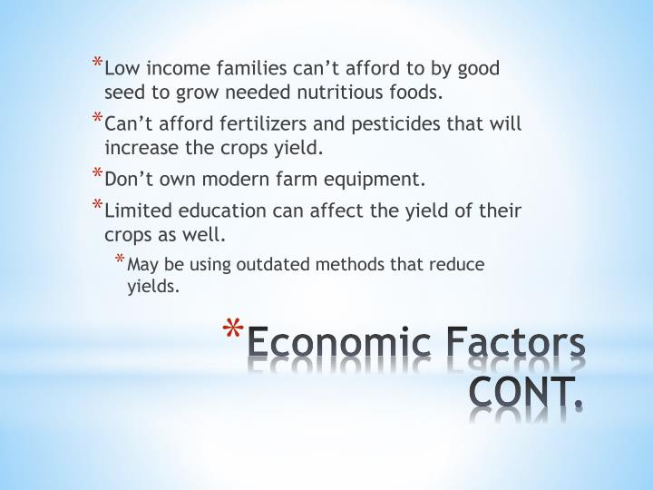 Low income families can't afford to by good seed to grow needed nutritious foods.