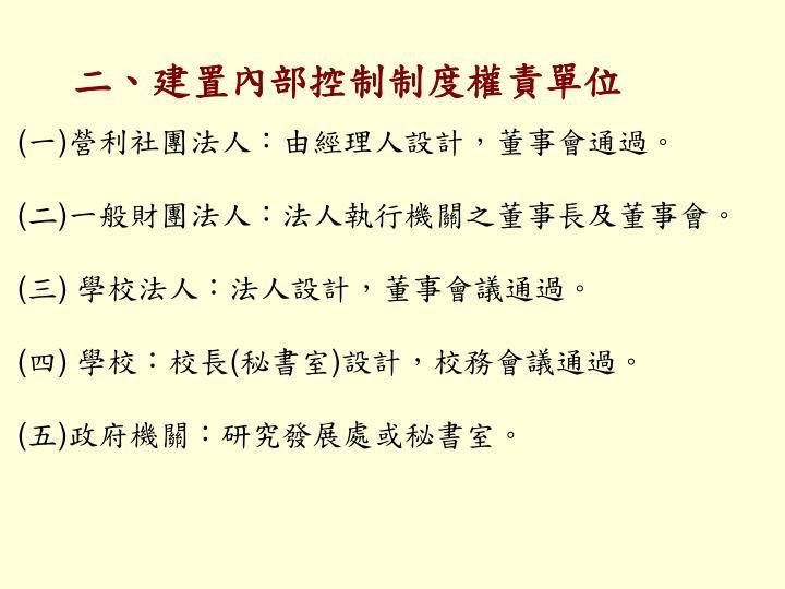 二、建置內部控制制度權責單位
