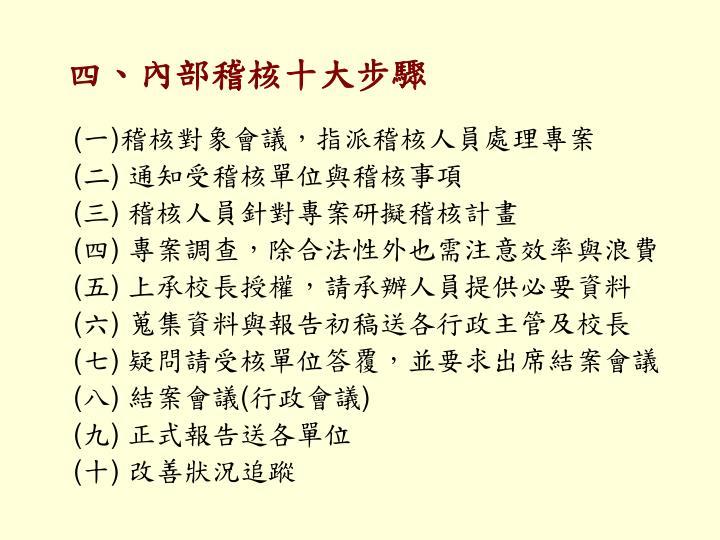 四、內部稽核十大步驟