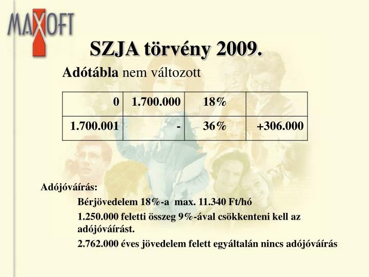 SZJA törvény 2009.