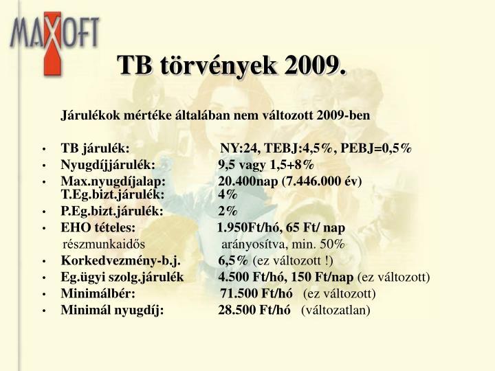 TB törvények 2009.