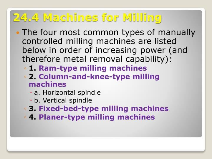 The four most common types of manually controlled milling machines are listed below in order of increasing power (and therefore metal removal capability):