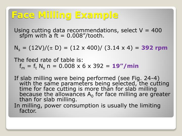 """Using cutting data recommendations, select V = 400 sfpm with a ft = 0.008""""/tooth."""
