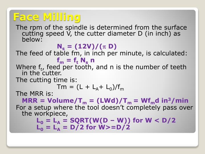The rpm of the spindle is determined from the surface cutting speed V, the cutter diameter D (in inch) as below: