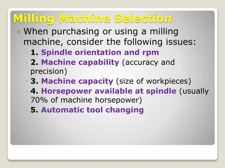 When purchasing or using a milling machine, consider the following issues: