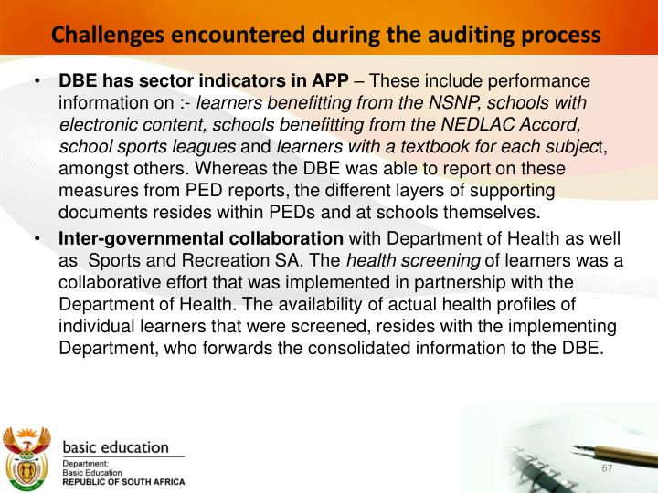 Challenges encountered during the auditing process