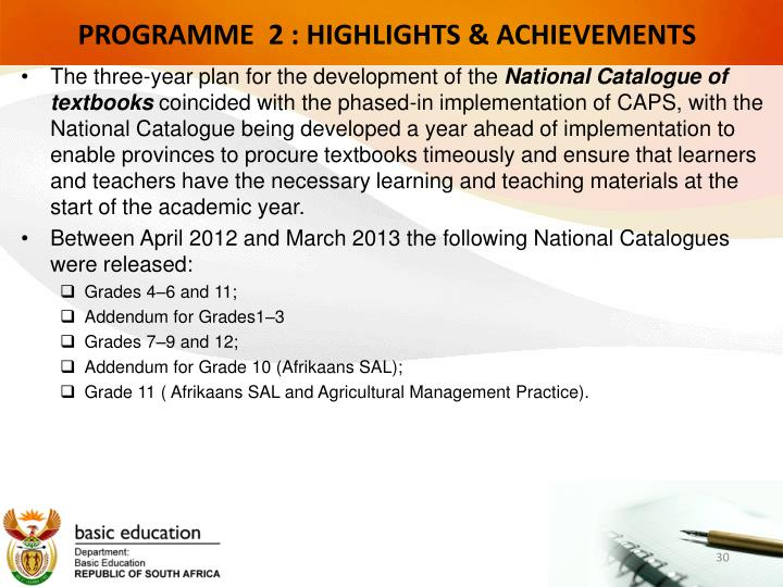 PROGRAMME  2 : HIGHLIGHTS & ACHIEVEMENTS