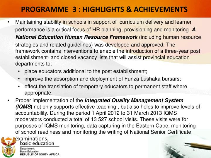 PROGRAMME  3 : HIGHLIGHTS & ACHIEVEMENTS