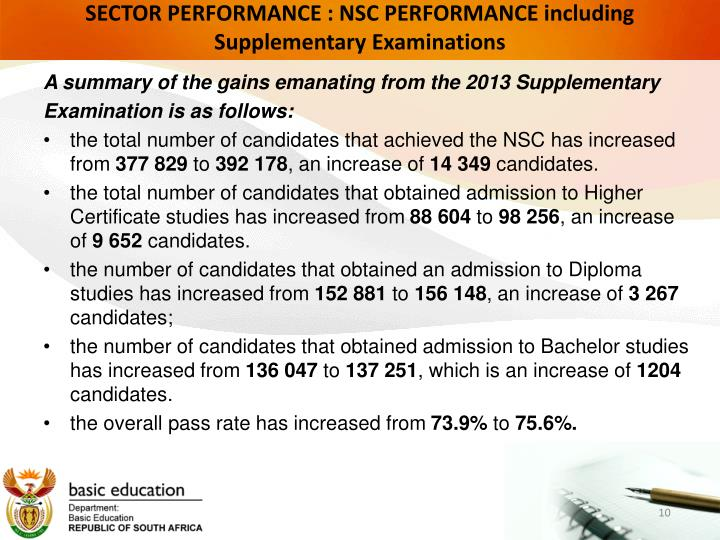 SECTOR PERFORMANCE : NSC PERFORMANCE including Supplementary Examinations