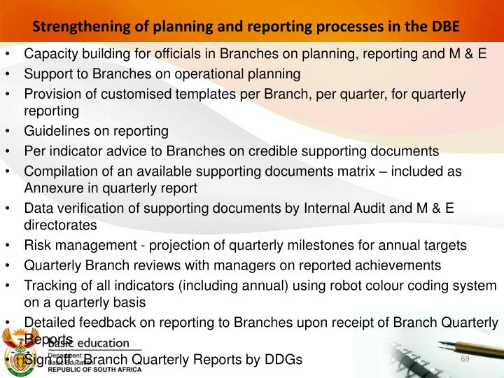Strengthening of planning and reporting processes in the DBE