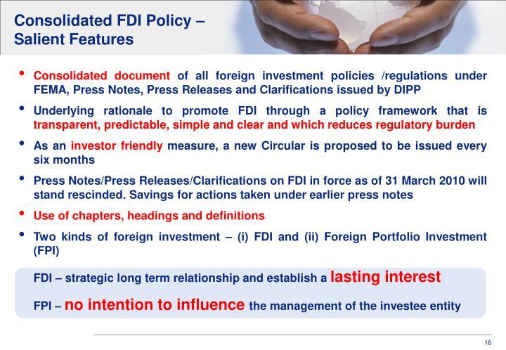 Consolidated FDI Policy –