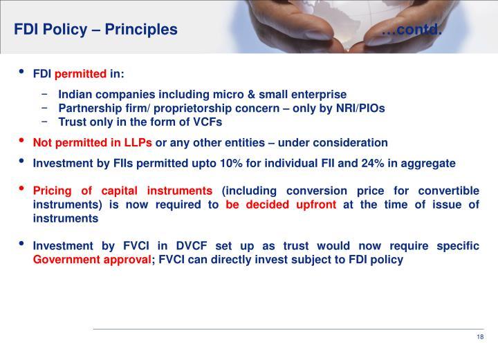 FDI Policy – Principles…contd.