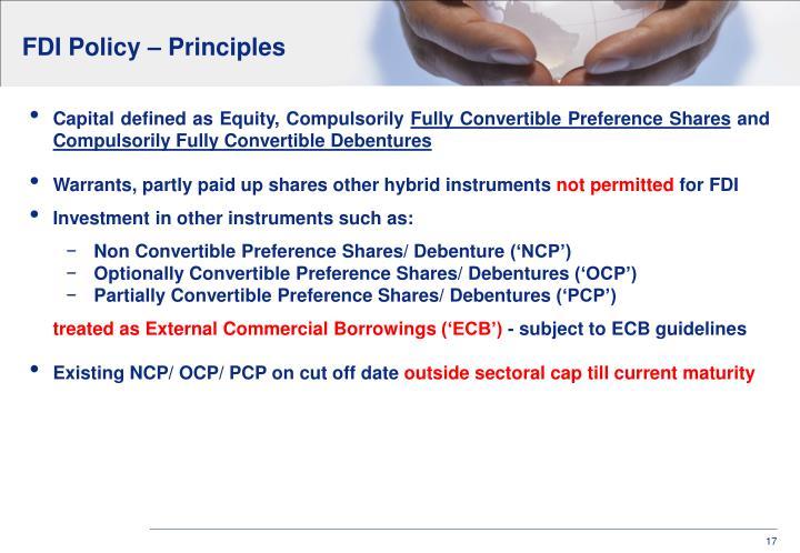 FDI Policy – Principles