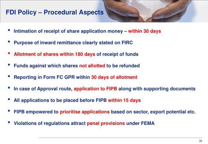FDI Policy – Procedural Aspects
