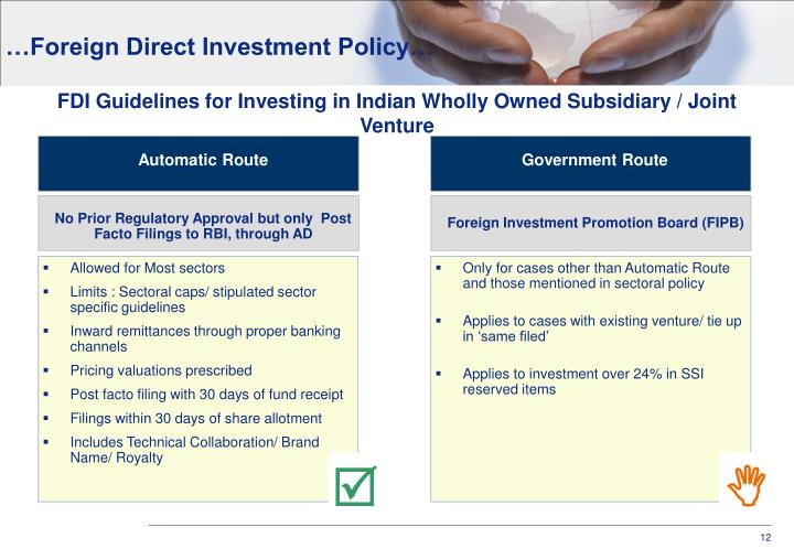 …Foreign Direct Investment Policy…