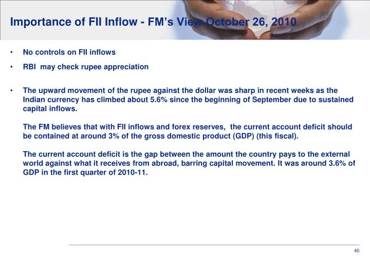 Importance of FII Inflow - FM's View October 26, 2010