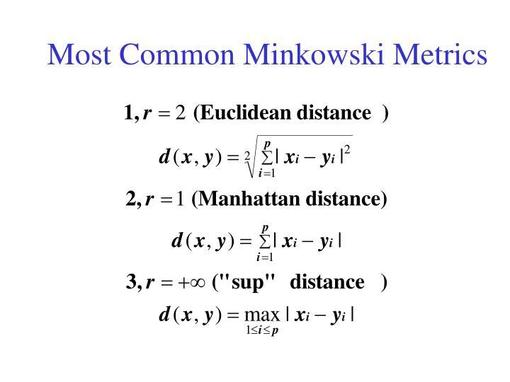 Most Common Minkowski Metrics