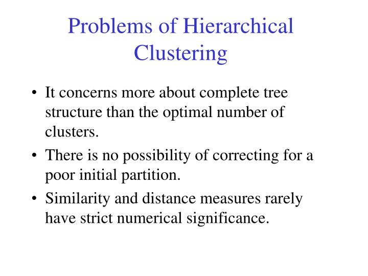 Problems of Hierarchical Clustering