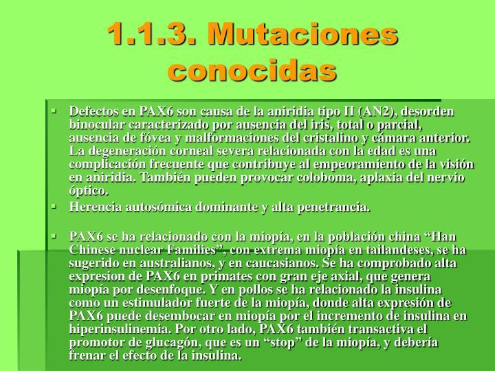 1.1.3. Mutaciones conocidas