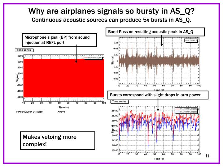 Why are airplanes signals so bursty in AS_Q?