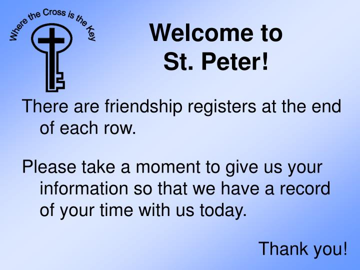 Welcome to st peter1