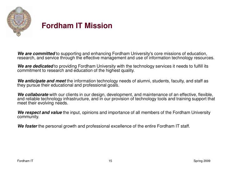 Fordham IT Mission