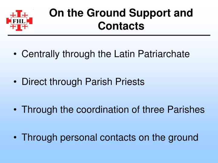 On the Ground Support and Contacts